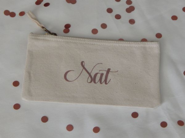 Personalised Flat Canvas Make Up Bag  - Name